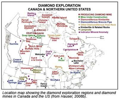 North American Diamond Exploration Map
