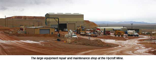 The equipment repair and maintenance shop at the Hycroft Mine.