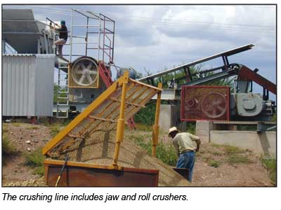 The crushing line includes jaw and roll crushers
