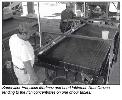 Supervisor Francisco Martinez and head tableman Raul Orozco tending to the rich concentrates on one of our tables.