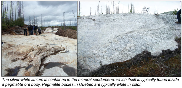 Silver-white lithium in Quebec
