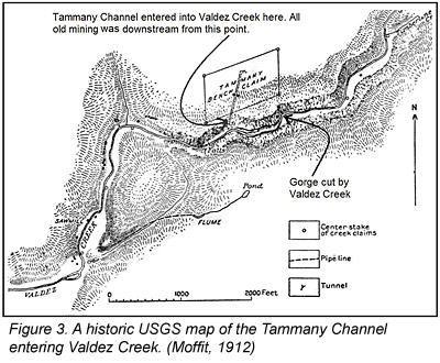 Historic USGS map of the Tammany Channel entering Valdez Creek, Alaska.