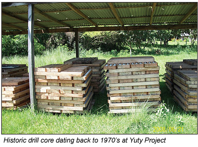 Historic drill core at Cue Resources' Yuti Project.