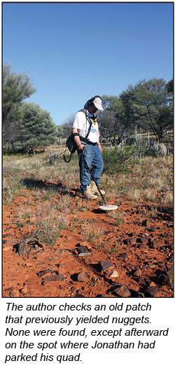 The author detecting an old nugget patch in Western Australia