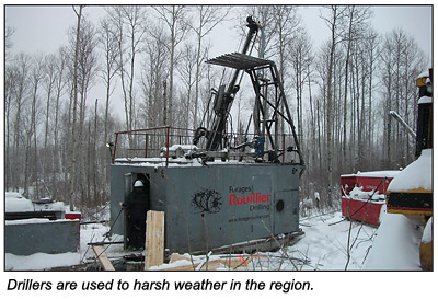 Drillers in snow.