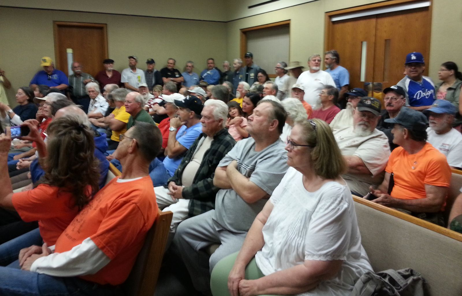 Miners pack the courtroom at the May 1, 2014 California suction gold dredge hearing